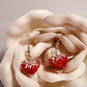 Crystal Swirl Heart Dtop Earrings with Swarovsk